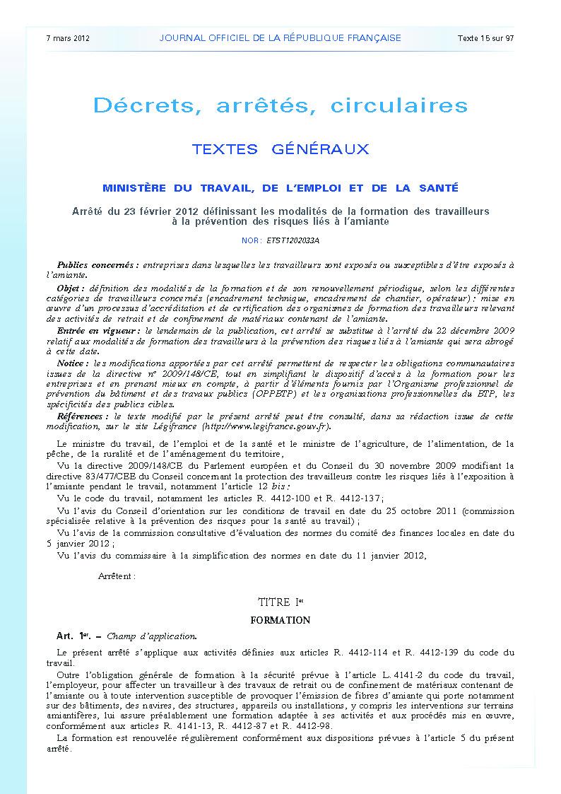 Arrêté du 23 février 2012 définissant les modalités de la formation des travailleurs à la prévention des risques liés à l'amiante page 1