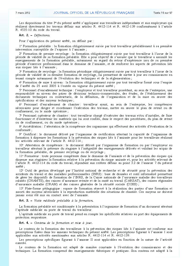 Arrêté du 23 février 2012 définissant les modalités de la formation des travailleurs à la prévention des risques liés à l'amiante page 2
