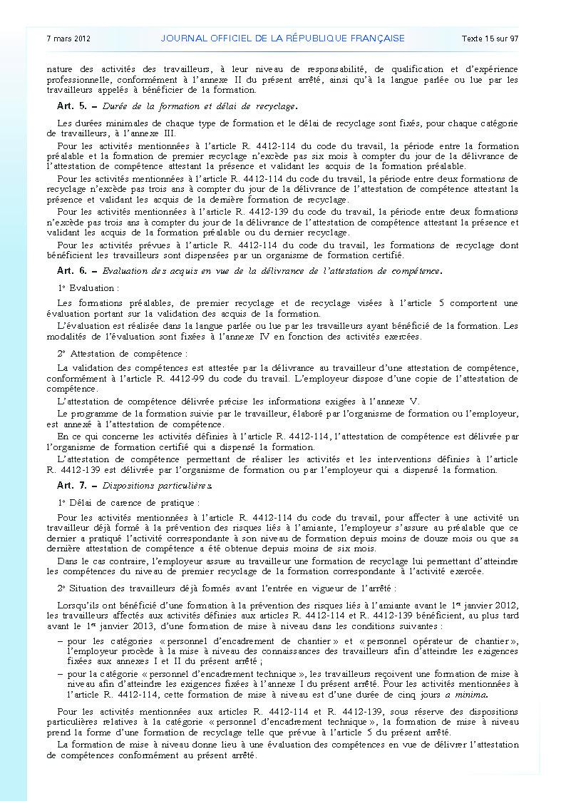 Arrêté du 23 février 2012 définissant les modalités de la formation des travailleurs à la prévention des risques liés à l'amiante page 3