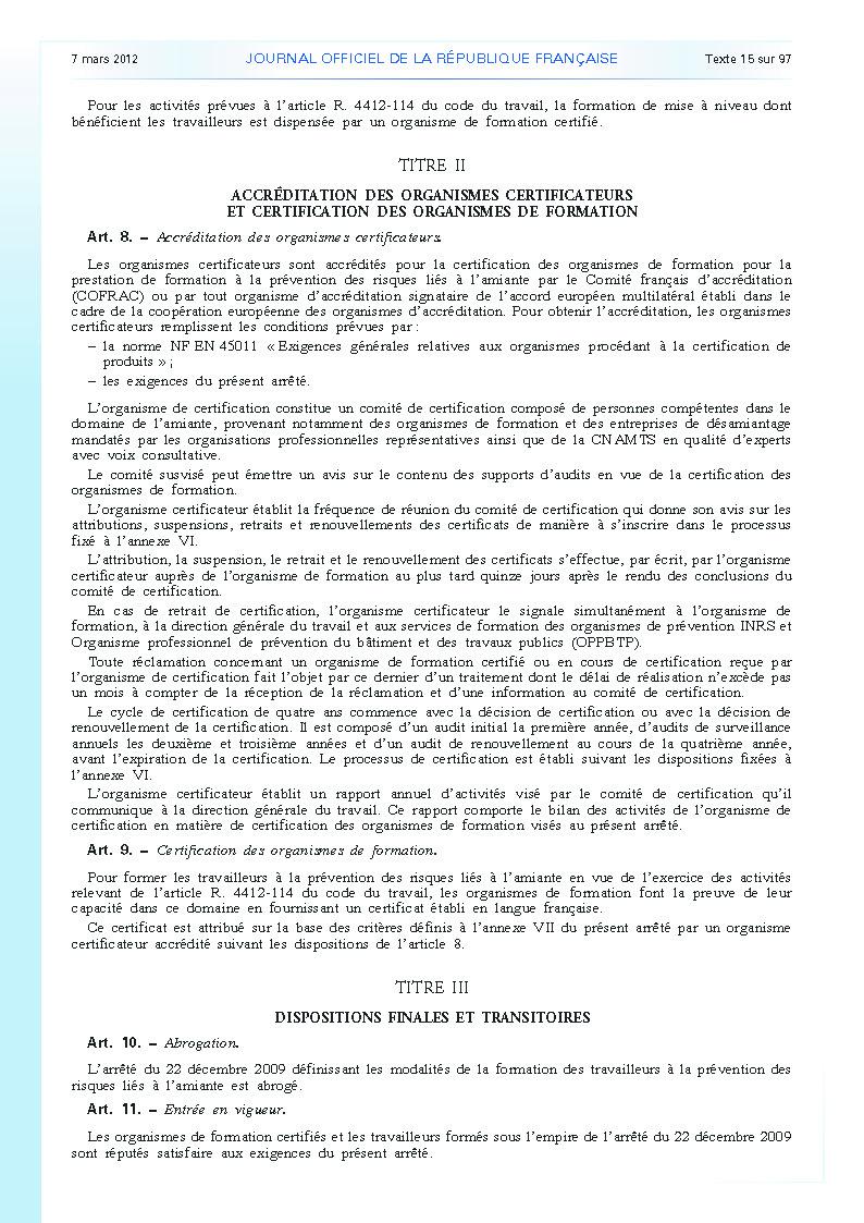 Arrêté du 23 février 2012 définissant les modalités de la formation des travailleurs à la prévention des risques liés à l'amiante page 4