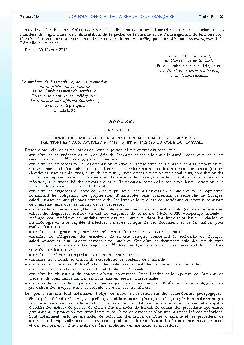 Arrêté du 23 février 2012 définissant les modalités de la formation des travailleurs à la prévention des risques liés à l'amiante page 5