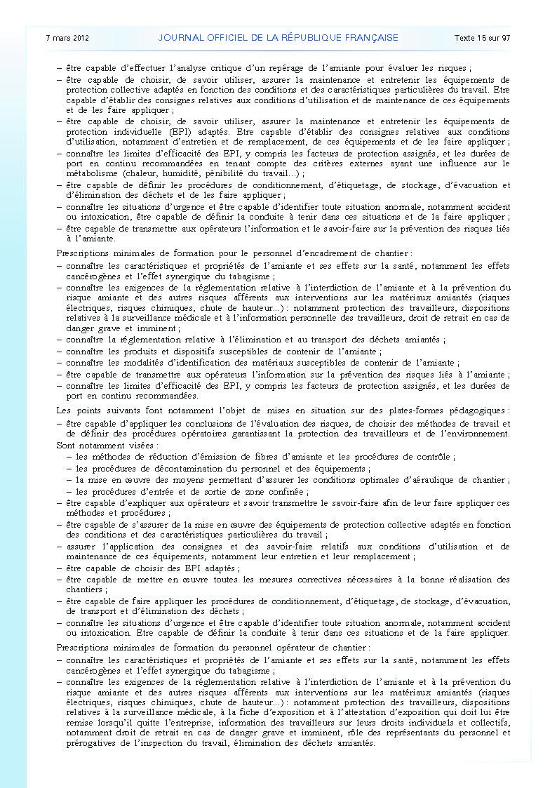Arrêté du 23 février 2012 définissant les modalités de la formation des travailleurs à la prévention des risques liés à l'amiante page 6