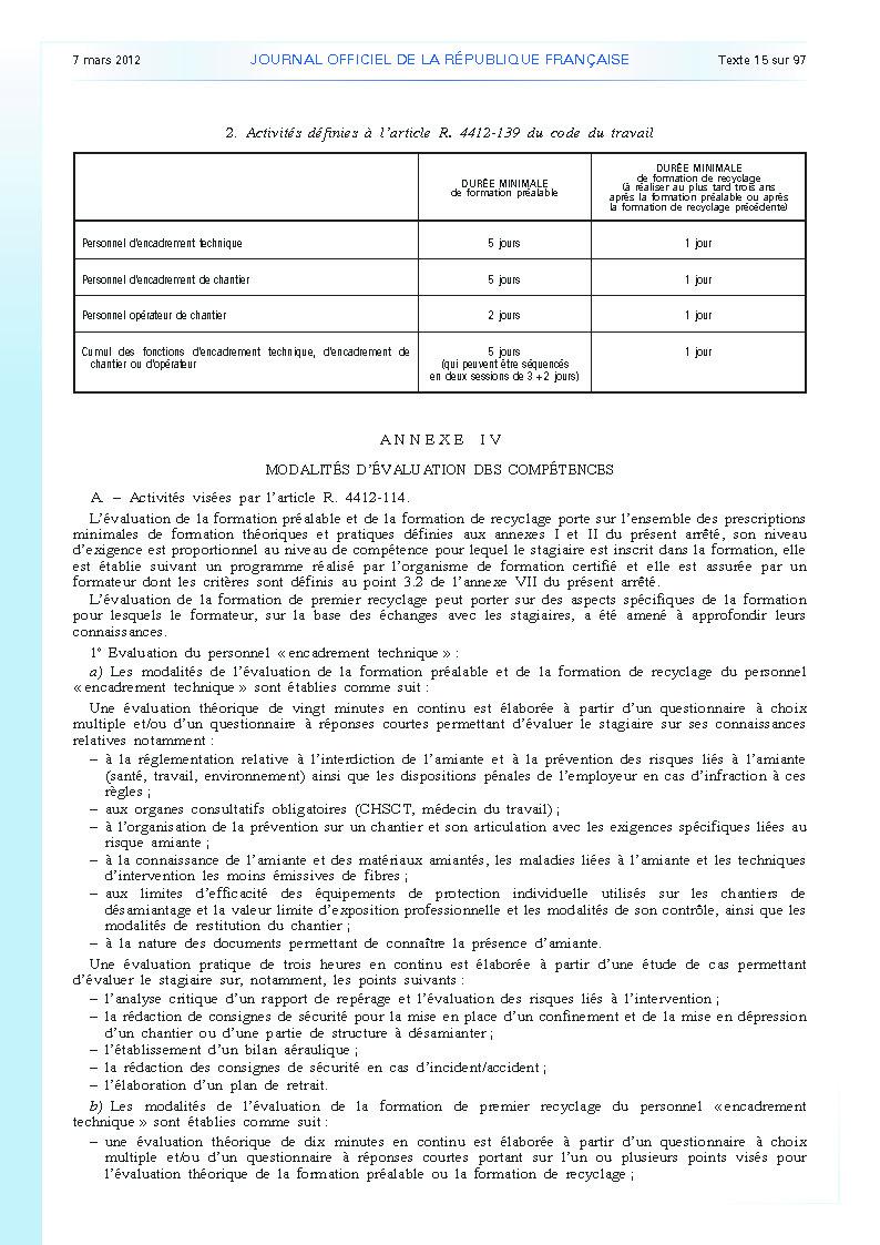 Arrêté du 23 février 2012 définissant les modalités de la formation des travailleurs à la prévention des risques liés à l'amiante page 9