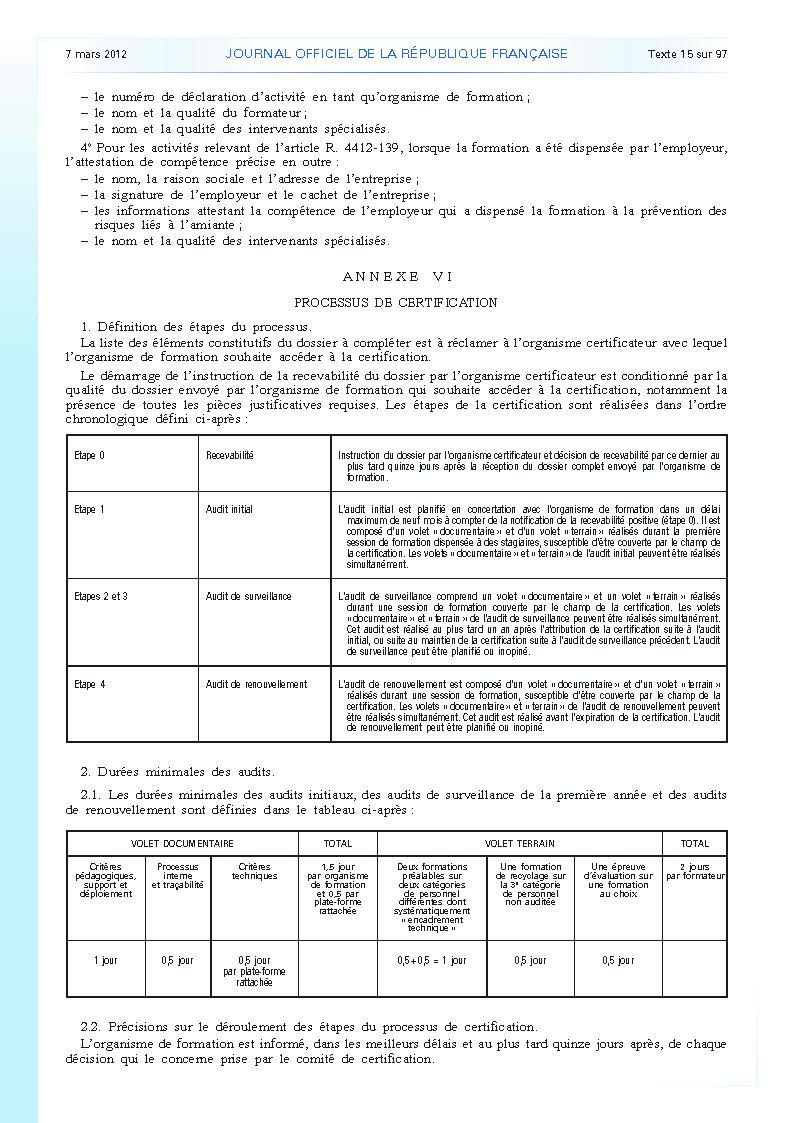 Arrêté du 23 février 2012 définissant les modalités de la formation des travailleurs à la prévention des risques liés à l'amiante page 12