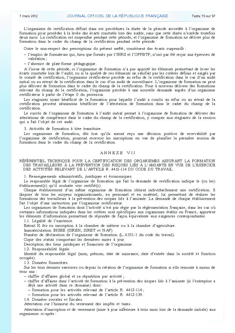 Arrêté du 23 février 2012 définissant les modalités de la formation des travailleurs à la prévention des risques liés à l'amiante page 13