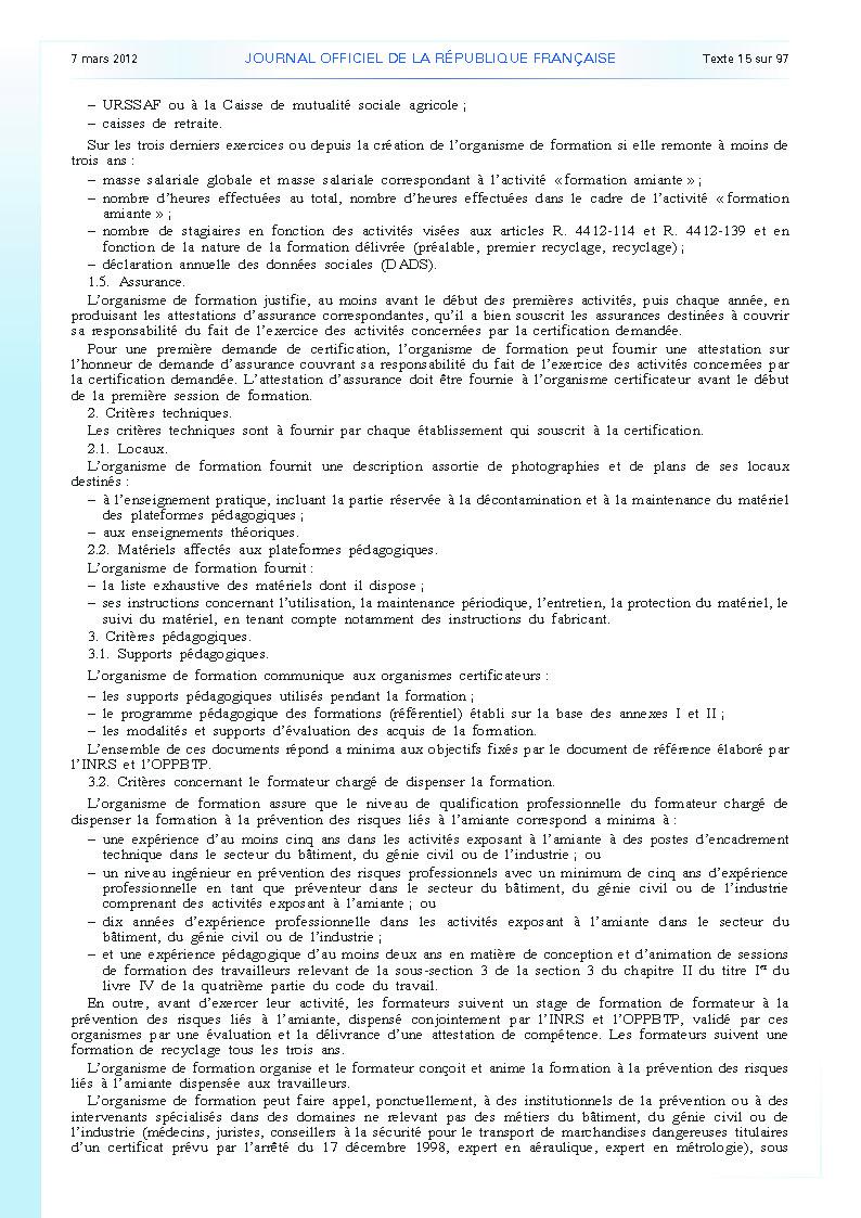 Arrêté du 23 février 2012 définissant les modalités de la formation des travailleurs à la prévention des risques liés à l'amiante page 14