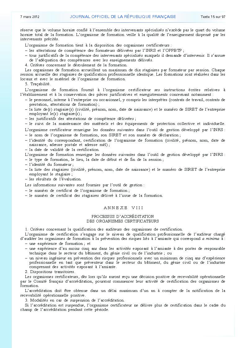 Arrêté du 23 février 2012 définissant les modalités de la formation des travailleurs à la prévention des risques liés à l'amiante page 15